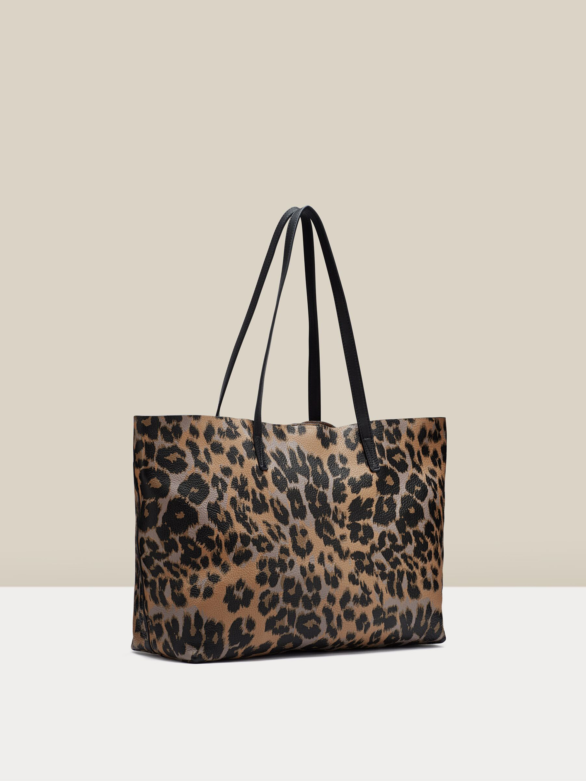 Belmont Structured Tote in Tan Leopard